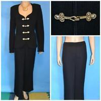 St John Evening Black Jacket Pants L 12 14 2pc Suit Rhinestones Pearl Buttons