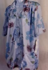 "NWT! WOMEN'S ""Touch Of Care"" SCRUB UNIFORM TOP *Blue Floral Design* Snap front"
