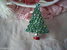 VINTAGE CHRISTMAS TREE GREEN GLITTER AND BAUBLES XMAS BROOCH PIN