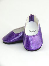 """Purple Glitter Flats Fits 18"""" American Girl Doll Clothes Shoes"""
