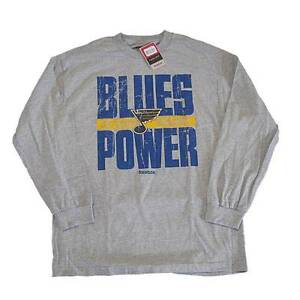 New Mens Official NHL St. Louis Blues Reebok Gray Long Sleeve Size Large