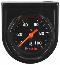 "Bosch Style Line 2"" Mechanical Oil Pressure Gauge 0 - 100 PSI Black Face FST8216"