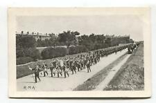 RMA, Royal Military Academy - Marching to Church, brass band - old postcard