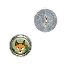 Geometric Orange Fox - Metal Craft Sewing Novelty Buttons Set of 4