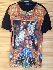 TOPMAN MESH RENAISSANCE STAIN GLASS WINDOW BUILDING OVERSIZED T SHIRT TOP UK S