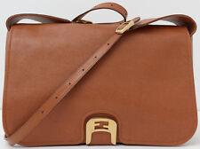 FENDI Chestnut Brown Crosshatched Leather Chameleon Crossbody Bag Handbag