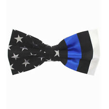Mens Blue Lives Matter Silk Bow Tie American Flag Thin Blue Line Police