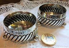 Pair of silver cauldron salts Hukin and Heath 1890