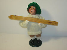 Byers Choice Retired 1996 Boy with White Knit Sweater Green Knit Cap & Skis