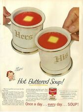 1955 Campbell's Tomato Soup His Her Cups fun food Kitchen Nook Decor PRINT AD