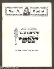 """Diana Barrymore """"PAJAMA TOPS"""" Leopold Badia 1955 Washington D.C. Playbill"""