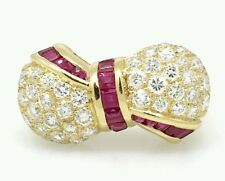 Pave Diamond and Baguette Ruby Bow Ring in 18k Yellow Gold - HM1572