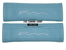 "2x Seat Belt Covers Pads Baby Blue Leather ""500"" Embroidery for Fiat"