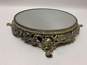 Vintage Gold Vanity Dresser Perfume Beveled Mirror Tray Ornate Hollywood Regency