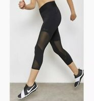 Nike Fly Lux Capri Legging Small S Black Crop Pant Mesh Tight Fit