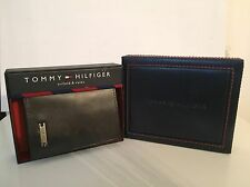 NIB Tommy Hilfiger Men's Brown Leather Trifold Wallet & Valet