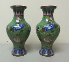 "PAIR ANTIQUE CHINESE CLOISONNE ENAMEL FLORAL DECORATED 10.5"" VASES, GREEN"