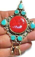 Tibetan Pendant Porcelain Lucky Beads Hippy  Coral Turquoise Stone inlay