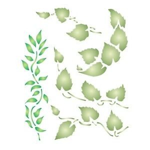 Leaf Stencil Reusable Small Leaves Foliage Wall Stencil Template