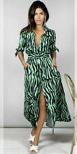 Dancing Leopard Dove Maxi Shirt Dress In Green Zebra Size 12