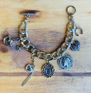 "Lucky Boho 7 Charm Bracelet Toggle Clasp Statement Dangle Horseshoe .5"" Chain"