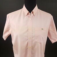 Lacoste Womens Oxford Shirt Blouse Size 16 (LARGE) Short Sleeve Pink Regular Fit