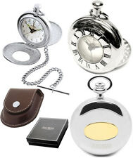 Jean Pierre Twin Lid Half Hunter Quartz Alarm Pocket Watch Chrome-Plate (D8)