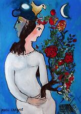 Marc Chagall Oil / Tempera Painting Original Signed on Cardboard with Docs
