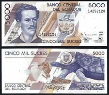 ECUADOR P128c*5000 SUCRES**ND 6-3-1999 RARE DATE**UNC GEM**SEE FULL DESCRIPTION