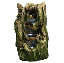 Outdoor Resin Fountain Led Lights Tree Trunk Zen Garden Backyard Water Waterfall