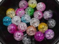 Craft DIY Mixed Color Acrylic Crackle Round Beads 8mm 10mm 12mm 14mm Smooth Ball