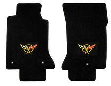 NEW! FLOOR MATS 1997-2004 C5 Corvette YELLOW Embroidered Flag Emblem Logo Pair