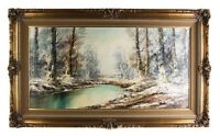 """Untitled Painting Winter Scene by Aldo Mantovani Oil on Canvas 28 x 47"""" Repaired"""