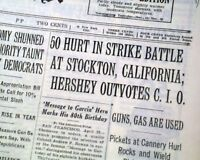 STOCKTON CANNERY STRIKE OF 1937 Spinach Riot California 1937 Old NYC Newspaper