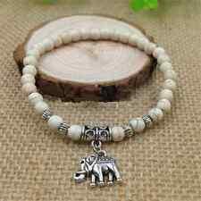 Charm Turquoise Beads Tibet Silver Elephant Stylish Pendant Elastic Bracelet FT0
