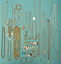 Lot of 48 Pieces Gold Tone Vintage and Modern Costume Jewellery some Signed