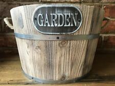 Vintage Rustic Wooden Barrel Home Garden Planter Plant Large Bucket Flower Pot
