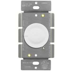 Rotary Dimmer Lighted Switch 3 Way Push On Off Incandescent Control 600W 120VAC