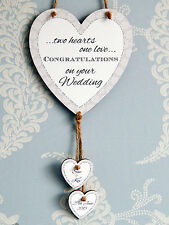 Two Hearts One Love Personalised Wedding Heart Plaque - Married Couple Gift