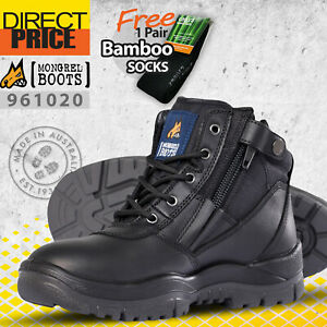 Mongrel Work Boots Security Zip Sider Non Steel Soft Toe Black 961020