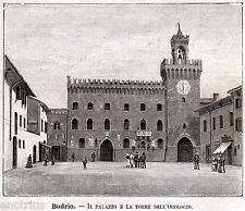 Budrio:Palazzo Comunale.Bologna.Emilia-Romagna.Stampa Antica + Passepartout.1891