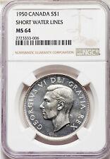 1950 SWL Silver Dollar NGC MS-64 Scarce Variety KEY George VI aGEM Canada $1.00