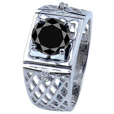 2.40 ct AAA BLACK MOISANITE ROUND & REAL ROUGH DIAMOND MEN'S RING .925 SILVER