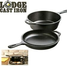 Lodge LCC3 3L Cast Iron Skillet Dutch Oven Combo Cooker Helper Handle NEW