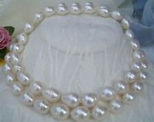 """New huge 36"""" 9-10MM SOUTH SEA WHITE PEARL RICE NECKLACE AAA"""