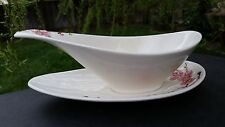 Poppytrail Metlox China PEACH BLOSSOM Gravy Boat with Attached Underplate