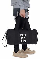 Kiss My Abs Barrel Gym Bag Duffel Fitness Slogan Yoga Weightlifting MMA Funny