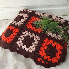 Granny Square Afghan Throw Brown Tan Orange Vintage HandMade Blanket Crocheted