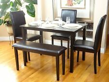 5 Pcs Dining Kitchen Set Rectangular Table 3 Fallabella Chairs Bench Espresso