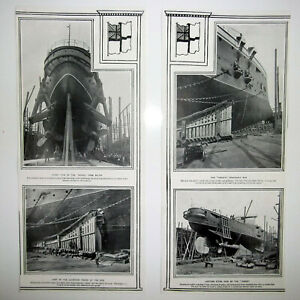 1900 THE HOGUE SHIP ~ Stern View Launching Cradle The Ram ~ Four Views News Clip